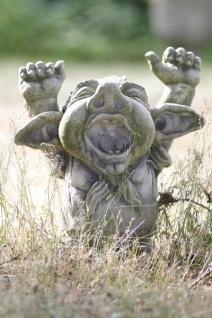 Troll DORIAN H46cm gähnend Skulptur Steinfigur Steinguss Vidroflor Kobold