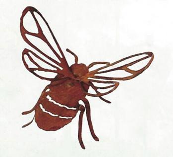 Hummel Biene freistehend 3D Flügel 34cm Rost Edelrost Metall Gartendekoration