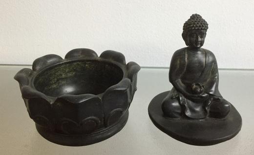 2er Set BUDDHA AUF DOSE H16cm Dekoration Figur Feng Shui Schmuckkästchen Schatz - Vorschau 5