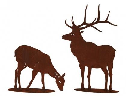 2er Set Hirsch 100x75cm und Reh fressend 50x63cm Rost Edelrost Metall Rostfigur