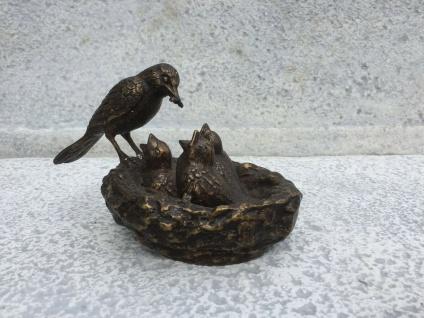 Bronze Skulptur Vogelnest Vogel Mutter mit Kleinen 13x21cm Bronze Figur Vögel