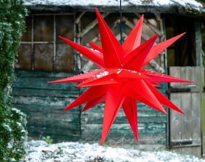 Außenstern ROT XXL 3D Weihnachtsstern 100cm 18 Zacken Leucht Stern 4m Kabel