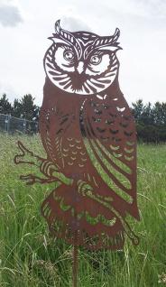 Eule am Stab 90 cm Naturrost Kautz Tierfigur Eulenfigur Edelrost