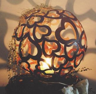 HERZ KUGEL 30 cm Edelrost Rost Ball Herzen Valentinstag Kerze Dekoration