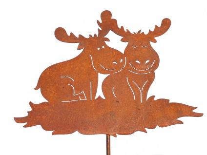 Verliebtes ELCHPAAR Rentier Elch Paar Weihnachten Gartenstecker Rost Edelrost