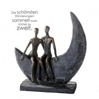Casablanca Design Skulptur MOON 23x22cm bronzeoptik Liebe Paar Freundschaft Mond
