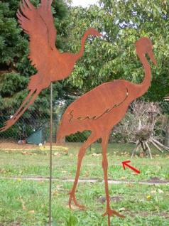 REIHER Fischreiher LAUFEND 62x45cm Gartenstecker Rost Edelrost Metall Figur