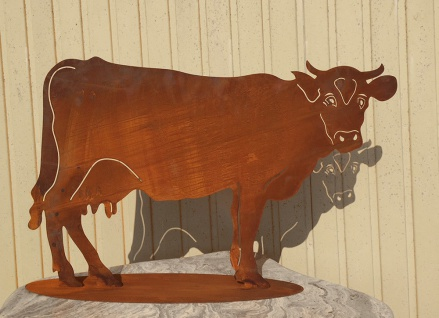 KUH XXL 103x68cm Rost Edelrost Rostfigur Bauernhof Tier Kühe Stier Bulle Metall