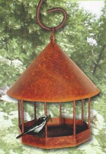 VOGELHAUS rund H30cm zum Aufhängen Beleuchten Futterhaus Edelrost Rost Metall - Vorschau 2