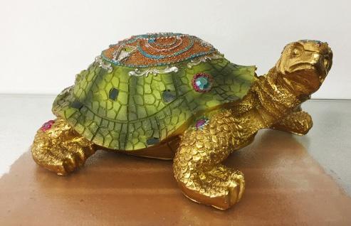 SCHILDKRÖTE INDIA L23cm grün bunt mit Steinen Tier Figur Skulptur Indian Style - Vorschau 1