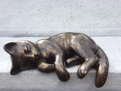 Bronze Skulptur Katze schlafend für Kante L22cm Bronzefigur Tier Figur Deko Kantenlieger