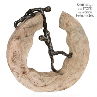 Skulptur Teamwork 30cm Mangoholz Holz Baumscheibe kletternes Paar bronze optik Figur