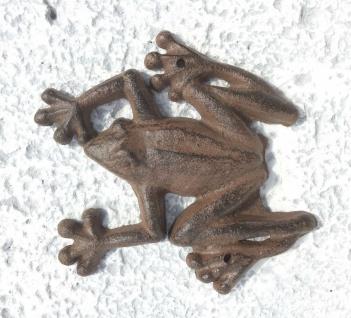 Wanddeko Frosch Gusseisen antik braun 13cm Metall Kröte Dekofigur Tier