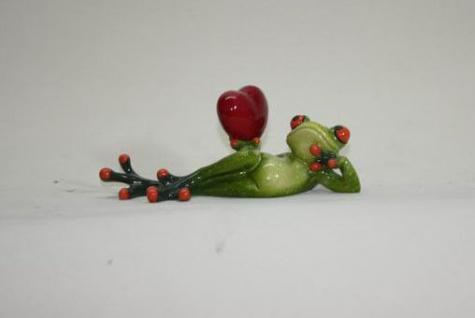 Lustiger Frosch mit Herz Figur Liebe L16cm Poly wetterfest Valentinstag Geschenk