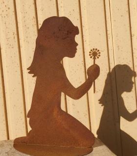 Mädchen mit Pusteblume 40cm Rost Edelrost Menschen Kind Metall Rostfigur Garten