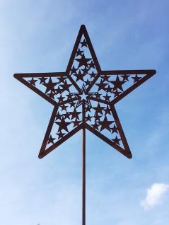 STERN FILIGRAN 26x75cm Gartenstecker Topfstecker Edelrost Rost Weihnachsstern