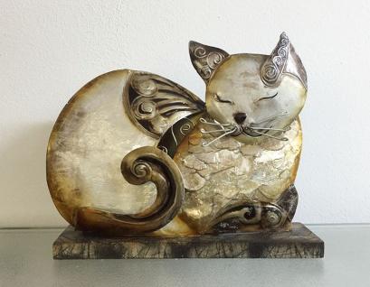 KATZE AUS METALL + MUSCHELN 17x21cm Dekofigur Deko Figur Skulptur Muschel Schale