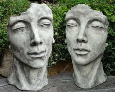 Gesicht MANN UND FRAU 53cm Skulptur Steinfigur Steinguss Antik grau Vidroflor