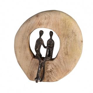 Wand Objekt Skulptur Paar 24cm zum Hängen oder Stellen Mangoholz Holz runde Scheibe