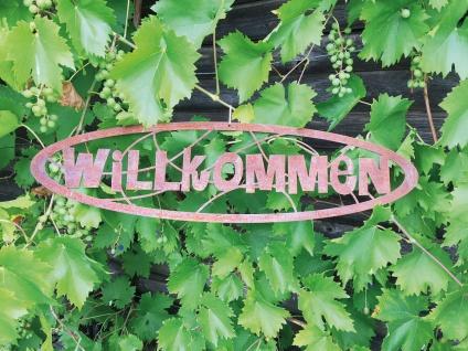 Schild WILLKOMMEN 60x14cm Edelrost Rost Gartendeko Wandhänger Türdekoration