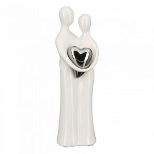 Skulptur Paar mit Herz 25cm weiß silber Liebespaar Hochzeit Liebe Keramik Figur