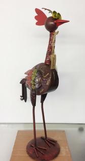 CRAZY HUHN bunt 60cm Metall Figur handbemalt verrückt Gockel Hahn Hühner Ostern