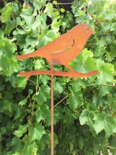 Vogel auf Zweig 20x29cm + Stab Gartenstecker Vögel Spatz Edelrost Rost 120cm
