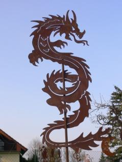 CHINESISCHER DRACHE Schlange 120cm Edelrost Rost Gartenstecker