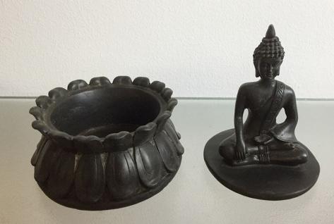 2er Set BUDDHA AUF DOSE H16cm Dekoration Figur Feng Shui Schmuckkästchen Schatz - Vorschau 4