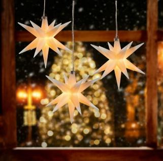 3er LED Sternenkette WEISS 3D Lichterkette Stern Weihnachtsstern außen & innen