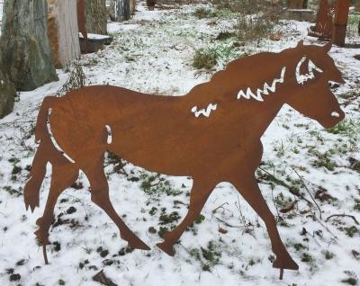 PFERD trabend Pony 80x60cm Gartenstecker Edelrost Metall Beetstecker Esel Hengst