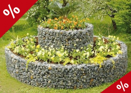 SET HOCHBEET DOPPELRING 240cm H80cm Blumenbeet Kräuterspirale Gabione Bellissa