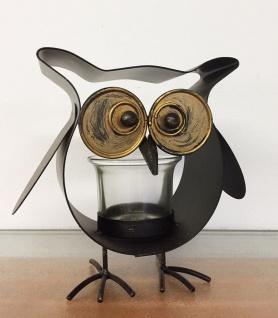 Lustige EULE WINDLICHT Metall 14cm mit Glas Teelicht Teelichthalter Tier Figur