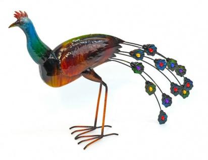 PFAU 60cm Metall bemalt 2 Sorten Dekoration Figur Vogel Skulptur außergewöhnlich - Vorschau 3