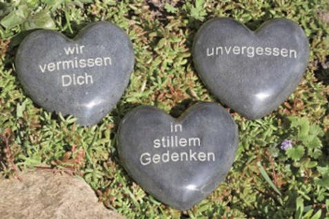 TRAUERHERZ Herz MIT SPRUCH Speckstein Stein grau 10cm 3 Sorten Grabschmuck
