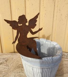 Kleiner Engel auf Mondsichel sitzend für Vasen H 17cm Edelrost Rost Fee Elfe