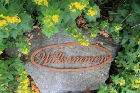 Willkommen Schild Schriftzug Edelrost Rost Gartendeko Wandhänger Türdekoration