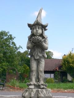 Lichtertroll für Teelicht 80cm Steinfigur Steinguss Figur Troll Gnom Kobold