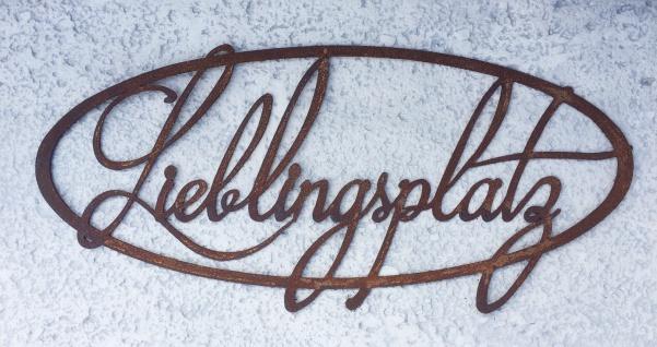 Schild Lieblingsplatz 50x23cm zum Aufhängen Edelrost Garten Metall Wandhänger