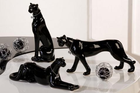 3er Set Leopard Schwarz mit Halsband Porzellan Skulptur Panther Gepard Figur