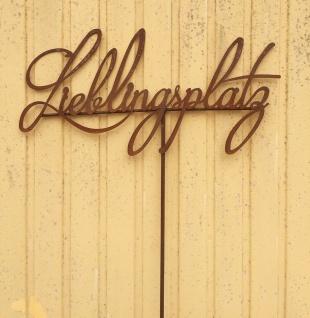 Schild LIEBLINGSPLATZ 70x35cm + Stab Gartenstecker Rost Edelrost Metall Schrift