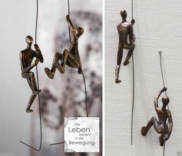 2er Set SCRAMBLE H50cm Kletterer am Seil kletternd bronze finish Skulptur Hänger