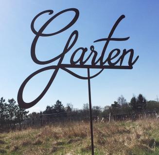 Schild GARTEN Gartenstecker 60x120cm Beetstecker Schriftzug Edelrost Metall