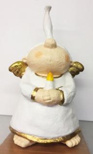 Lustiger ENGEL MIT KERZE 44cm handbemalt Polyresin Figur Weihnachtsengel crazy
