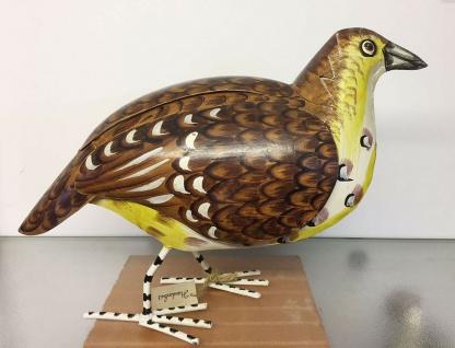 Rebhuhn 32x42cm Metall bemalt Huhn Hühner Rebhühner Skulptur Vogel Tier Figur