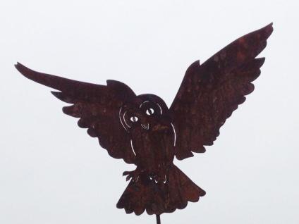 Schleiereule Eule fliegend 36x45cm + Stab Gartenstecker Edelrost Rost Figur Uhu
