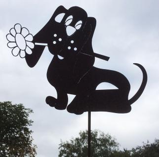 HUND MIT BLUME 30x24cm TOPFSTECKER Gartenstecker Rost Edelrost Rostfigur Hunde