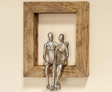 Wand Objekt Liebespaar Paar sitzend im Holzrahmen H30cm Wandbild braun silber
