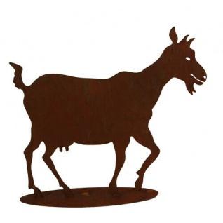 ZICKLEIN 39x45cm Ziege Ziegenbock Rost Edelrost Metall Figur Rostfigur