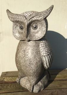 Eule Granit farben 40cm Polyresin Garten Figur Uhu Vogel Outdoor frostfest